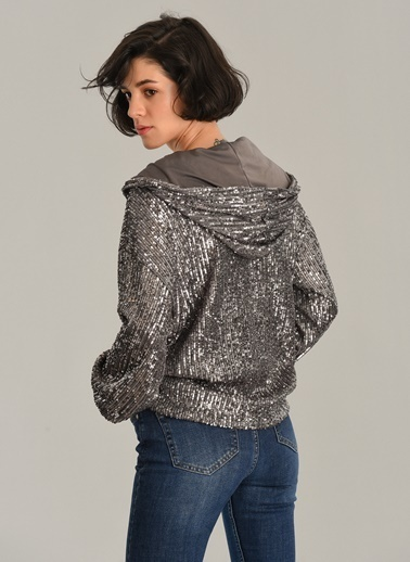 Agenda Payet İşlemeli Kapüşonlu Sweatshirt Gümüş